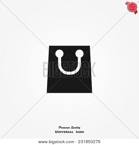 Shopping Bag Icon. Vector Symbol Isolated On White Background.