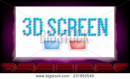Screen 3d Movie Cinema Vector. Red Seats. Blank Premiere Poster. Illustration
