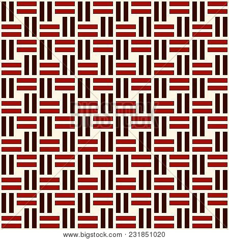 Wicker Seamless Pattern. Basket Weave Motif. Red Colors Geometric Abstract Background With Overlappi