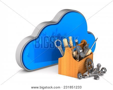 Cloud and toolbox on white background. Isolated 3D illustration