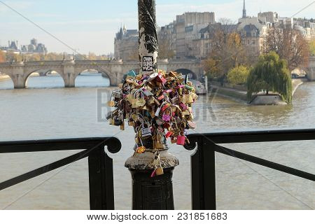 Paris, France - November 2017: Love Padlocks On The Seine Bridge In Paris, France