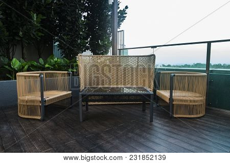 Chairs And Table Side Near The Pool Ideal For Travel And Vacation Concept.