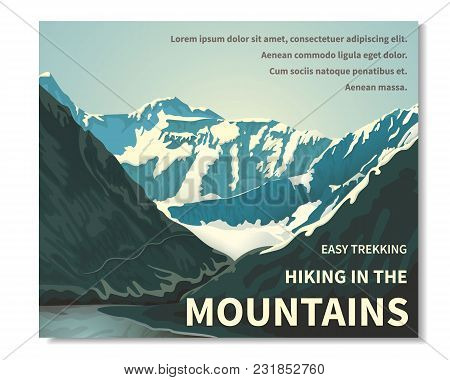 Mountain Landscape - Horizontal Banner, Poster With Text. A View Of The Rocks. Gorge Of The River, B