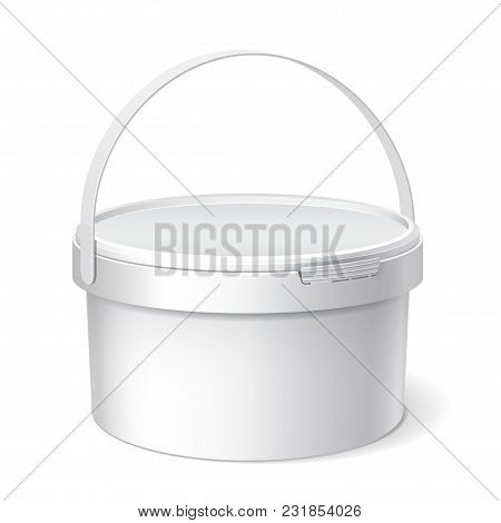 Small White plastic bucket. Product Packaging For food, foodstuff or paints, adhesives, sealants, primers, putty. Vector illustration poster