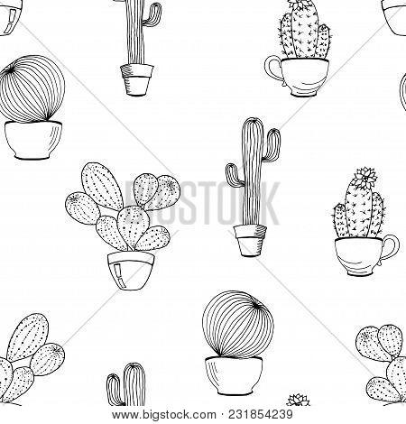 Vector Cactus Flower Background. Seamless Pattern With Cactus In Pot. Cartoon Hand Drawn Cactus. Col
