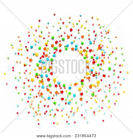 Beautiful Food Frame Or Web Banner With Multicolored Sprinkles On Iwhite Background. Colorful Holida