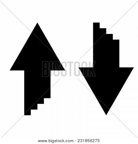 Two Arrows With Sumulation 3d Effect For Upload And Download Icon Black Color Vector Illustration Fl