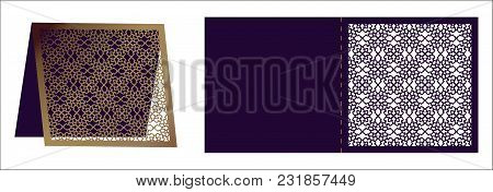 Laser Cut Ornamental Vector Template. Luxury Square Greeting Card, Envelope Or Wedding Invitation Ca