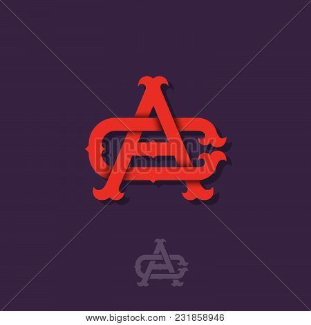 A And C Monogram. A And C Crossed Letters, Intertwined Letters Initials.