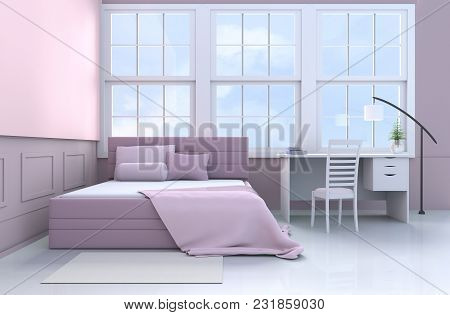 Bed Room Decor With Tree In Glass Vase, Pillows, Blanket, Window, Sky, Lamp,desk,book,pink Bed, Bols