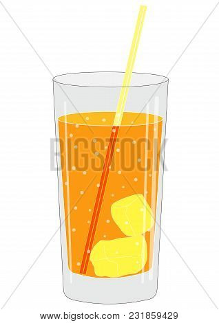 Illustration Of A Glass With A Drink With Tube And Ice Cubes And A Fruit Slice