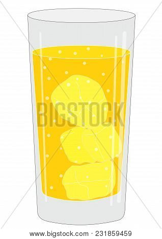 Illustration Of A Glass With A Drink And Ice Cubes And A Fruit Slice