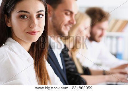 Beautiful Smiling Woman Portrait With Group Of People Listen Carefully During Seminar. Study Event C