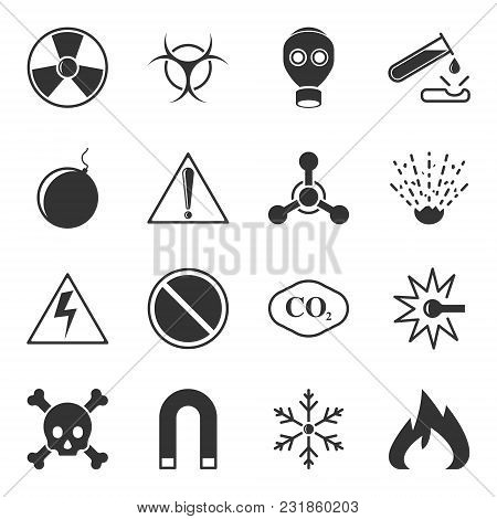 Set Of Vector Warning Icons On A White Background, Contain Danger Signs, Toxicity, Explosivity And O