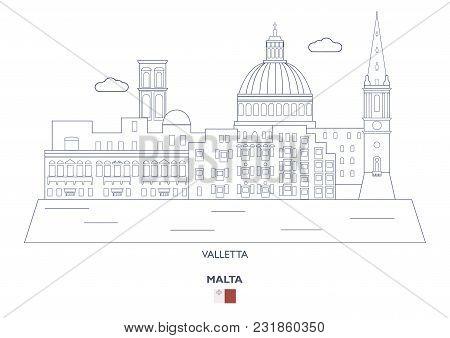 Valletta Linear City Skyline, Malta. Famous Places
