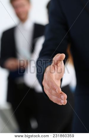 Hand Handsome Cheerful Man Offer Hand As Hello In Office Portrait. Serious Excellent Prospect, Frien