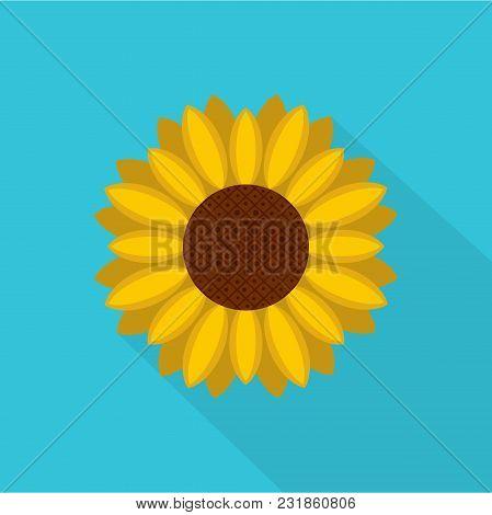 Circle Of Sunflower Icon. Flat Illustration Of Circle Of Sunflower Vector Icon For Web