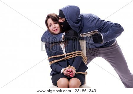 Kidnapper with tied woman isolated on white