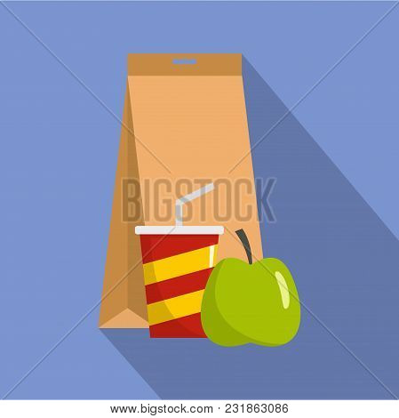 Packed Lunch Icon. Flat Illustration Of Packed Lunch Vector Icon For Web