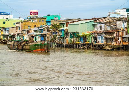 Vietnamese Houses Above The Water