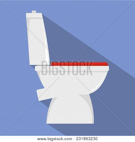 Home Toilet Icon. Flat Illustration Of Home Toilet Vector Icon For Web