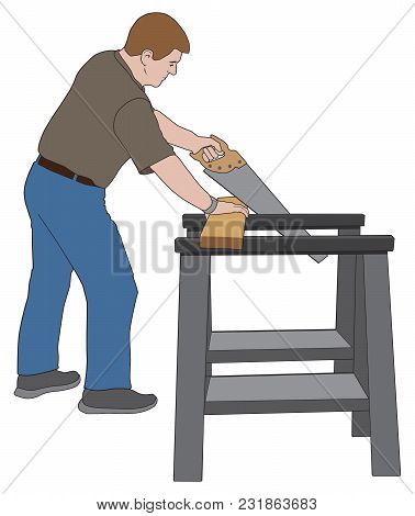 A Man Is Sawing A Board For A Home Improvement Project