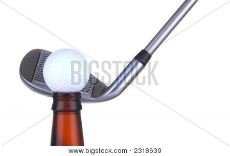 Golf Ball On Bottle With Iron