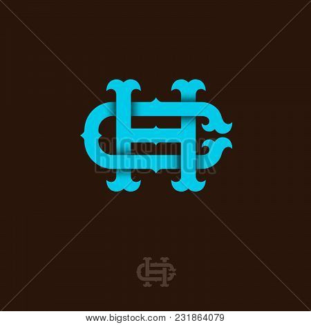 C And H Monogram. C And H Crossed Letters, Intertwined Letters Initials.
