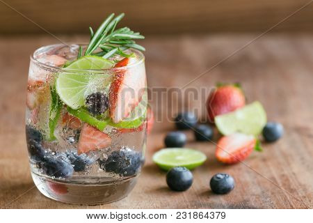 Infused Water Made From Blueberry Strawberry And Lemon In Sparkling Mineral Water Look So Freshness