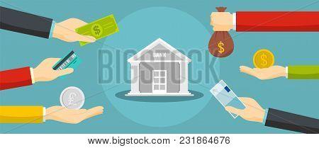 Bank Banner. Flat Illustration Of Bank Vector Banner For Web