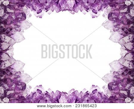 macro photo of lilac amethyst crystals frame isolated on white background