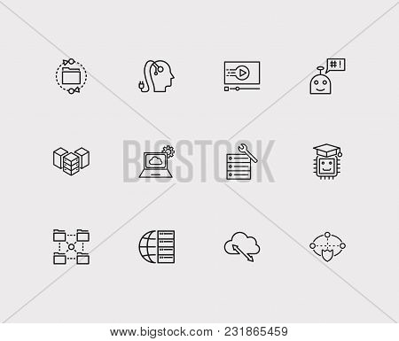 Technology Icons Set With Ai Robot, Hosting Service And Cloud Computing. Set Of Technology Icons Als