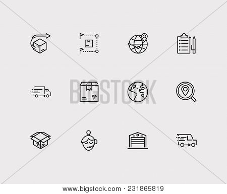 Cargo Icons Set With Delivery, Delivery Network And Delivery Box. Set Of Cargo Icons Also Including