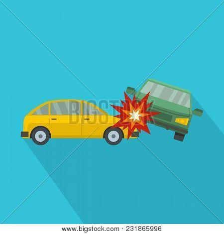 Crashed Car Icon. Flat Illustration Of Crashed Car Vector Icon For Web