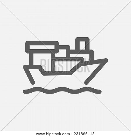 Tanker Ship Icon Line Symbol. Isolated Vector Illustration Of Vessel Sign Concept For Your Web Site