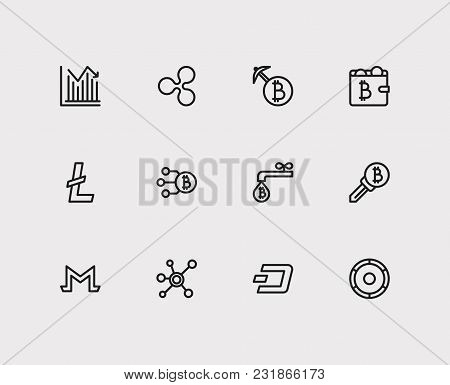 Blockchain Icons Set With Monero, Mining And Stock Price. Set Of Blockchain Icons Also Including Cry