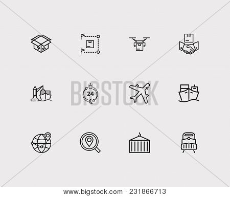 Delivery Airplane And Carrying Icons Set With Delivery Box, Delivery Ship And Delivery Location. Set
