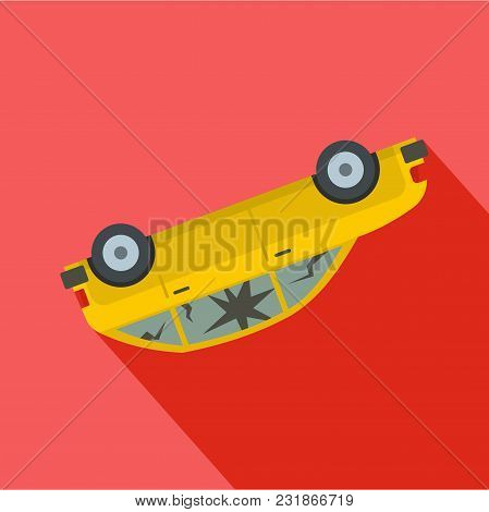 Turned Car Icon. Flat Illustration Of Turned Car Vector Icon For Web
