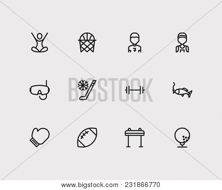 Marathon Runner And Sport Icons Set With Basketball, American Football And Football Player. Set Of S