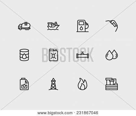 Tanker Ship And Energy Icons Set With Gasoline Pump Nozzle, Canister And Chemistry Factory. Set Of E