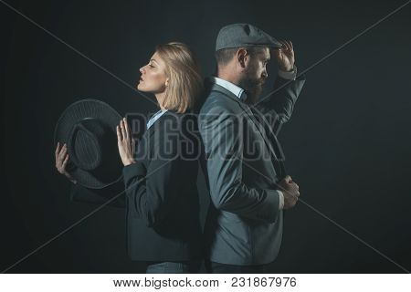 Couple Of Detectives Or Researchers, Private Investigators. Vintage Investigator Concept. Couple In