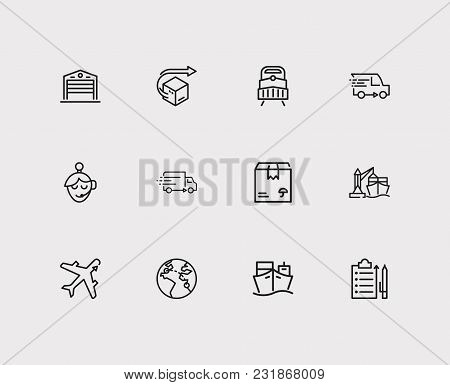 Logistics And Cargo Icons Set With Distribution, Delivery Van And Delivery Airplane. Set Of Cargo Ic