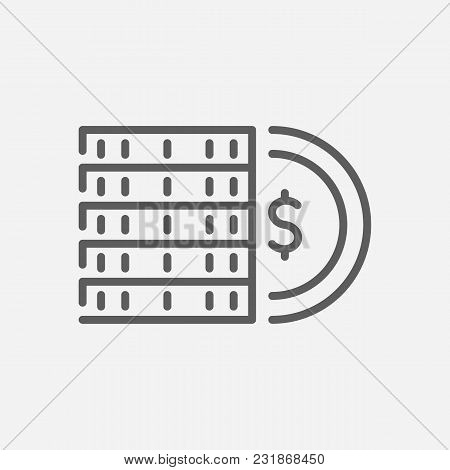 Coins Icon Line Symbol. Isolated Vector Illustration Of Cash Sign Concept For Your Web Site Mobile A