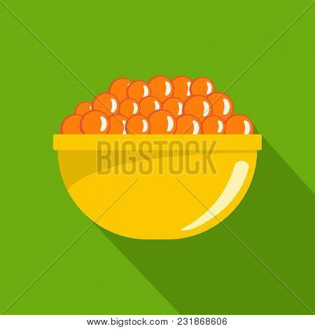 Red Caviar Icon. Flat Illustration Of Red Caviar Vector Icon For Web
