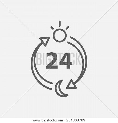 Delivery Hours Icon Line Symbol. Isolated Vector Illustration Of 24 Hour Service Sign Concept For Yo