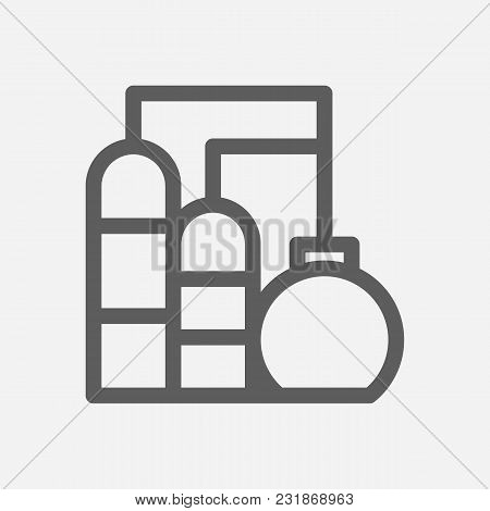 Oil Water Factory Icon Line Symbol. Isolated Vector Illustration Of Petrol Factory Sign Concept For