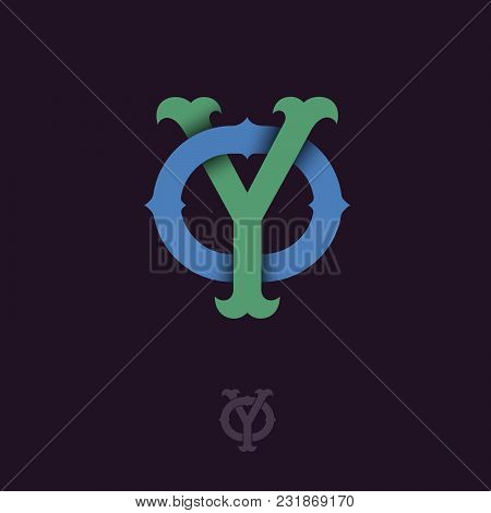 Y And O Monogram. Y And O Crossed Letters, Intertwined Letters Initials.