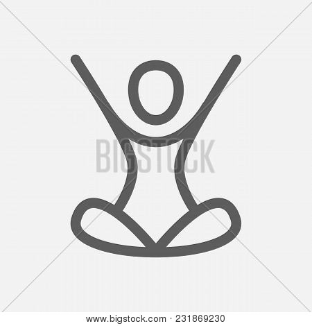 Yoga Icon Line Symbol. Isolated Vector Illustration Of Meditation Sign Concept For Your Web Site Mob