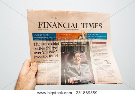 Paris, France - Mar 15, 2018: Pov At The International Newspaper Financial Times  With Portrait Of S