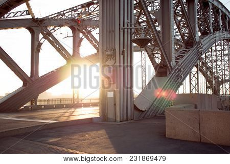 Metal Structures Of Bridge Across River. Long-span Steel Trusses.